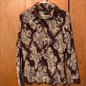 Brown and Cream Paisley Blouse